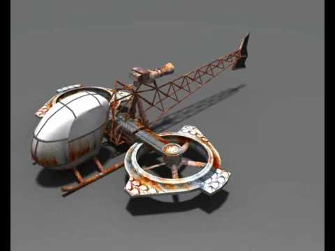 Low-Poly Steampunk Helicopter