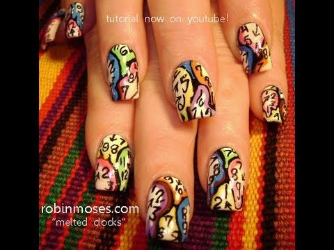 "steampunk clock gears melting retro rainbow design salvadore dali ""robin moses nail art"""