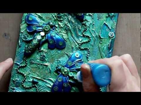 Mixed Media Art Canvas – Steampunk Dragonflies