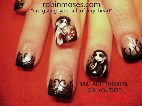 Emo Cartoon NAIL ART: I give YOU my Heart